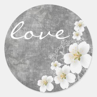 Floral: Peach Blossom Wedding Treat Bag Sticker