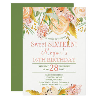 Floral peach gold fern green chic sweet sixteen card