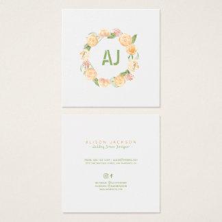 Floral peach green wreath wedding dress designer square business card
