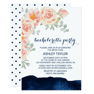 Floral Peach & Navy Watercolor Bachelorette Party Card