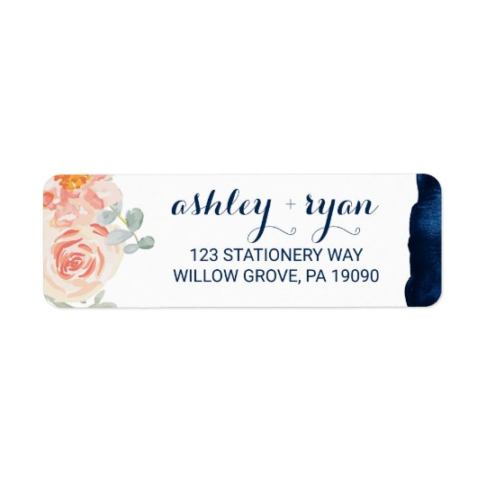 Floral Peach Pink and Navy Watercolor Wedding Return Address Label