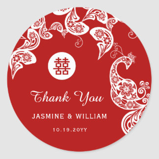 Floral Peacock Elegant Red Chinese Wedding Sticker