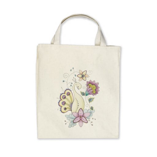 Floral Peacock Organic Grocery Tote Bag