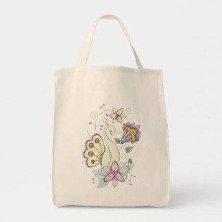 Floral Peacock Organic Grocery Tote Grocery Tote Bag