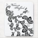 Floral Peacock Pattern Custom Gift Mousepad