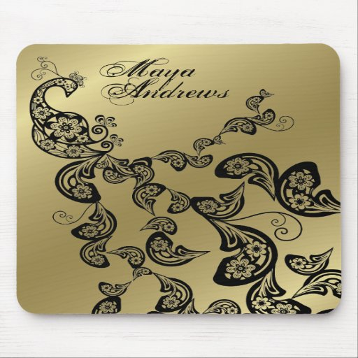 Floral Peacock Pattern Gold Custom Gift Mousepad