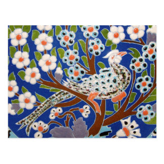 Floral Peacock Tile Art Postcard