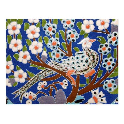 Floral Peacock Tile Art Postcards