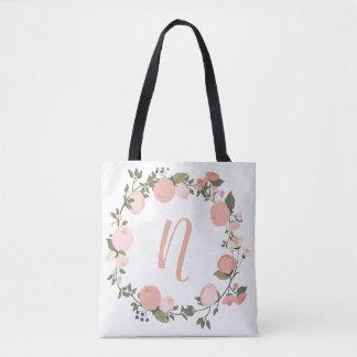 Floral personalised initial tote bag