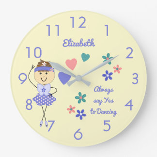 Floral Personalised name purple Ballerina Large Clock