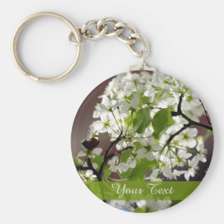 Floral Personalized Blossom Photo Basic Round Button Key Ring