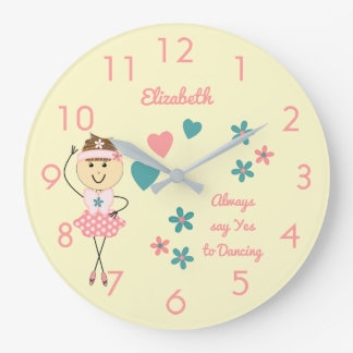 Floral Personalized name pink Ballerina Large Clock