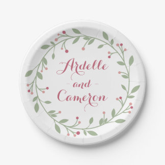 Floral Personalized Pink Burgundy & Green Wedding 7 Inch Paper Plate