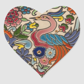 Floral Phoenix Heart Sticker
