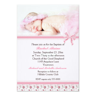 "Floral Photo Baptism Invitation 5"" X 7"" Invitation Card"