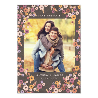 Floral Photo Save the Dates | Fall Wedding 13 Cm X 18 Cm Invitation Card