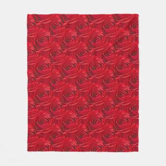 Floral Photo Vibrant Red Rose Geometric Pattern Fleece Blanket