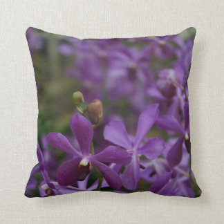 Floral Photograph: Purple Orchids in garden Cushion