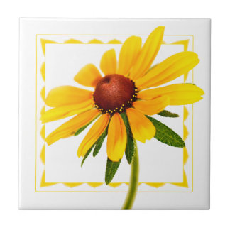 Floral Photography Black-Eyed Susan Wildflower Ceramic Tile