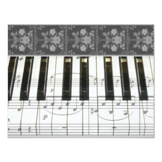 "Floral Piano Keyboard 4.25"" X 5.5"" Invitation Card"