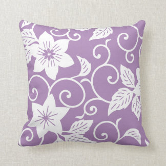 Floral Pillow - African Violet Purple Pattern