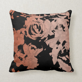 Floral Pink and Black Rose Gold Throw Pillow
