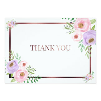 Floral Pink and Rose Gold Thank You Card