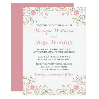 Floral Pink and Sage Green Flower Wedding Card