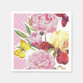 Floral Pink and Yellow Butterfly Iris Bouquet Disposable Napkin
