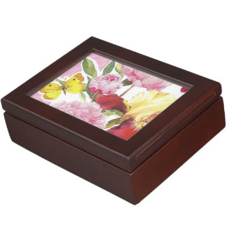 Floral Pink and Yellow Butterfly Iris Bouquet Keepsake Box