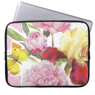 Floral Pink and Yellow Butterfly Iris Bouquet Laptop Sleeve
