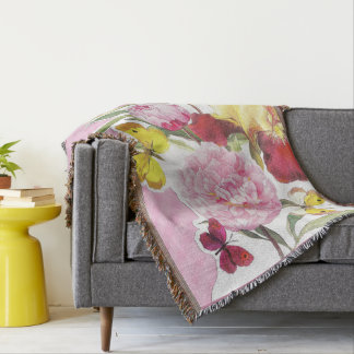 Floral Pink and Yellow Butterfly Iris Bouquet Throw Blanket