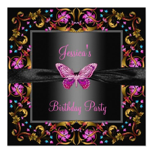 Floral Pink Black Butterfly Birthday Party Custom Invites
