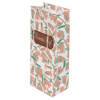 Floral Pink Blossoms Wine White Gift Bag