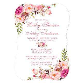 Floral Pink Blush Baby Shower Invitation