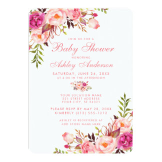 Floral Pink Blush Baby Shower Invitation R