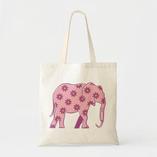 Floral Pink Cartoon Elephant Elegant Funny Chic Tote Bag