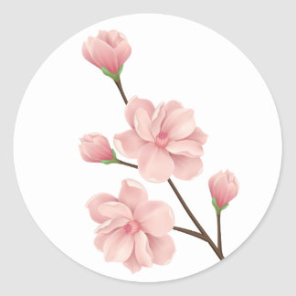 Floral Pink Cherry Blossom Flowers Wedding Party Classic Round Sticker
