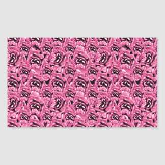 Floral Pink Collage Pattern Rectangular Sticker