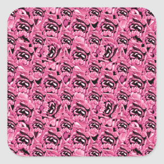Floral Pink Collage Pattern Square Sticker
