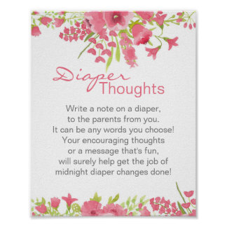 Floral Pink Diaper Thoughts Poster