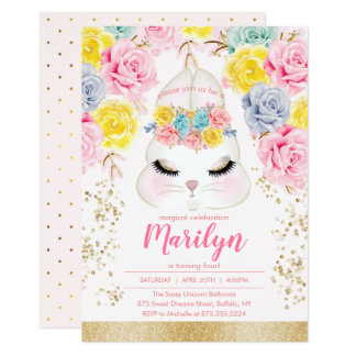 Floral Pink Easter Bunny Birthday Party Card