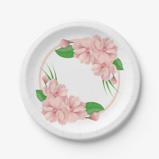 Floral Pink Flowers  Shabby Chic Wedding / Party Paper Plate