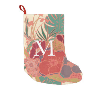 Floral Pink Girly Monogrammed Christmas Stocking