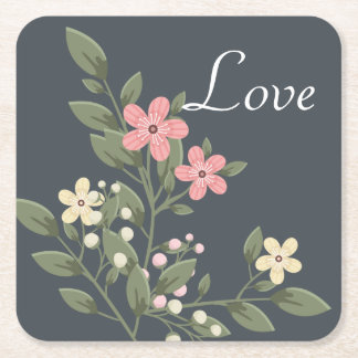 Floral Pink & Gray Flowers Wedding Grey Love Square Paper Coaster