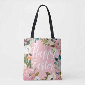 Floral Pink Happy Easter | Easter Egg Hunt Tote Bag