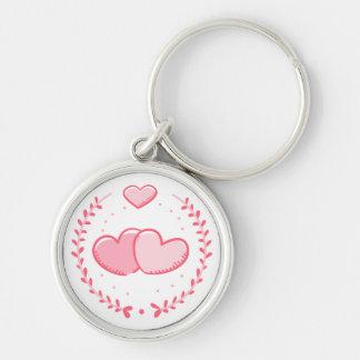 Floral Pink Hearts Laurel Wreath Love Key Ring