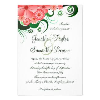 "Floral Pink Hibiscus 5"" x 7"" Wedding Invitation"