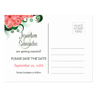 Floral Pink Hibiscus Save The Date Postcards