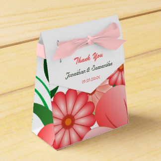 Floral Pink Hibiscus Tent With Ribbon Favor Box Wedding Favour Boxes